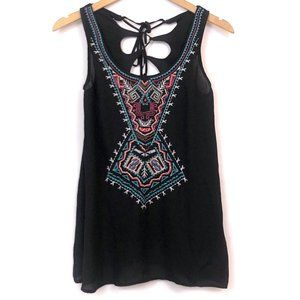 Black Embroidered Aztec Tribal Beaded Lace Up Tank